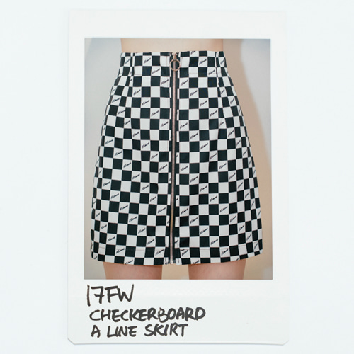 17 FW Checkerboard A Line Skirt_Black