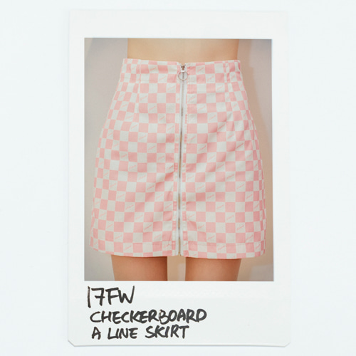 17 FW Checkerboard A Line Skirt_Pink