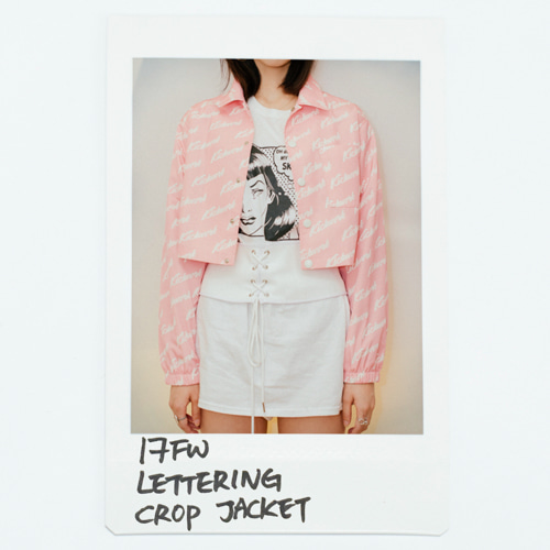17 FW Lettering Crop Jacket_Pink