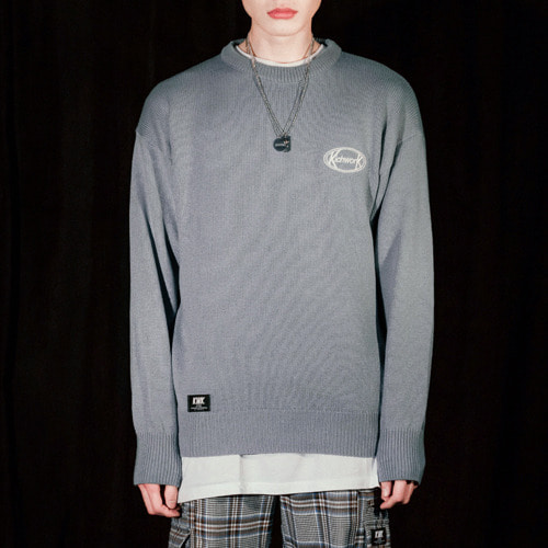 19 SS Signature Round Knit_Sky Blue [모델 한으뜸 착용]